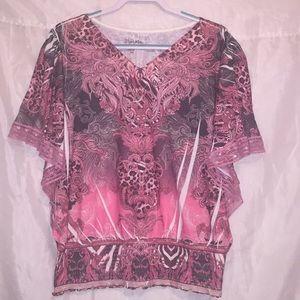 Wrangler 🌸 pretty v-neck w/sequins shirt XXL 🌺